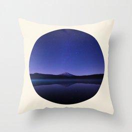 Volcano Against Purple Star Sky Round Photo Throw Pillow