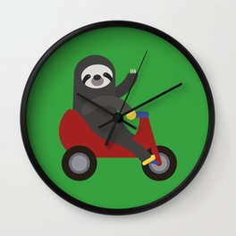 Sloth on Tricycle Wall Clock