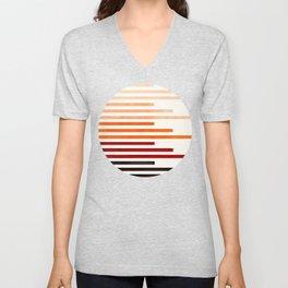 Mid Century Modern Minimalist Circle Round Photo Burnt Sienna Staggered Stripe Pattern Unisex V-Neck
