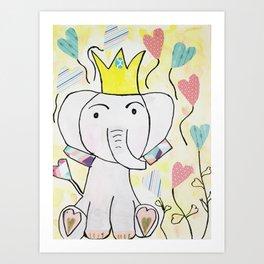 Nursery Art Kawaii Cute Elephant Art Print