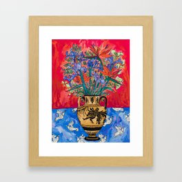 Icarus Floral Still Life Painting with Greek Urn, Irises and Bird of Paradise Flowers Framed Art Print