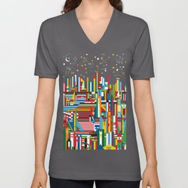Flagscapes: World Cityscape Unisex V-Neck
