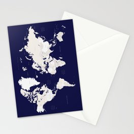 """Navy blue and cream world map, """"Austin"""" Stationery Cards"""