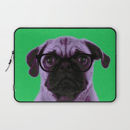 Geek Pug with Glasses in Green Background Laptop Sleeve