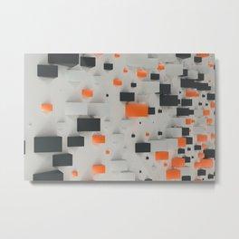 Pattern with black, white and orange blocks Metal Print