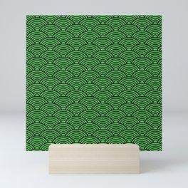 Japanese Waves (Black & Green Pattern) Mini Art Print