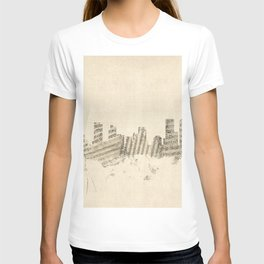 Denver Colorado Skyline Sheet Music Cityscape T-shirt