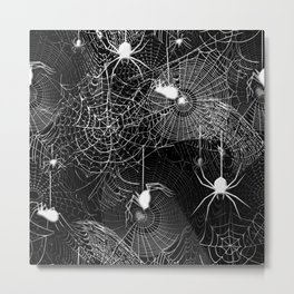 Black and White Spider Webs Pattern Metal Print