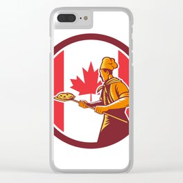 Canadian Pizza Baker Canada Flag Icon Clear iPhone Case