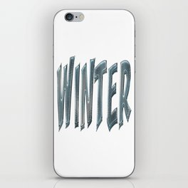 Winter Text Frozen Ice Blue Typography iPhone Skin