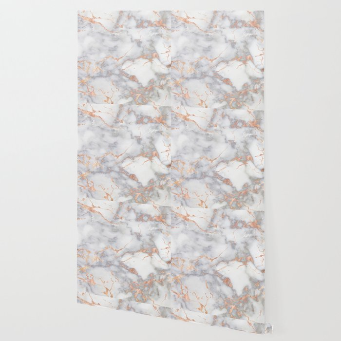 Gray Marble Rosegold Glitter Pink Metallic Foil Style Wallpaper