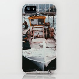 Small white boat in Greece   Fine art travel photography   Bright and light photos iPhone Case