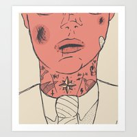gentleman Art Prints featuring Gentleman by The Bad Artist