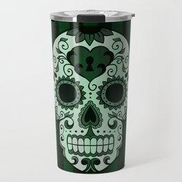 Día de los Muertos in Emerald Green Travel Mug