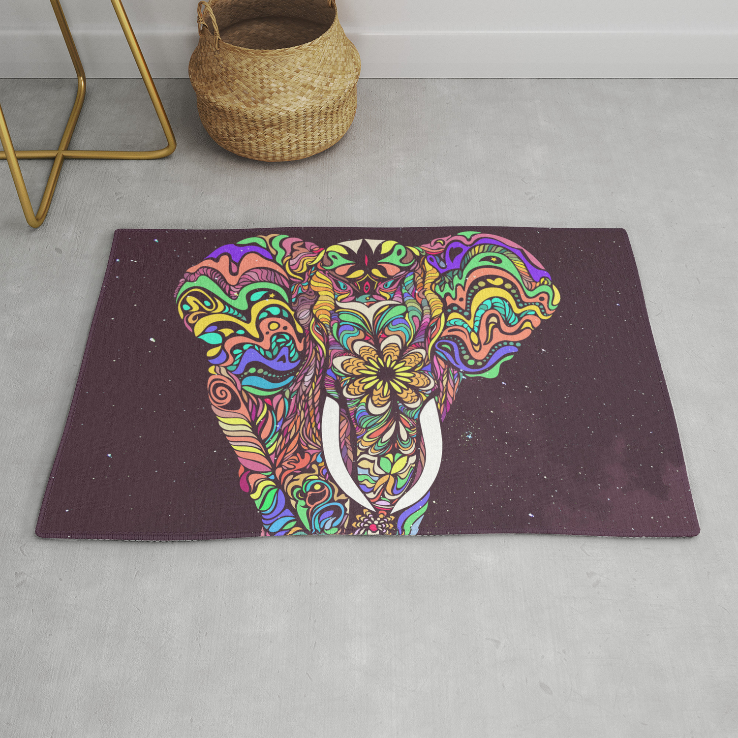 Psychedelic Elephant E Rug By
