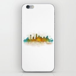 Dallas Texas City Skyline watercolor v03 iPhone Skin