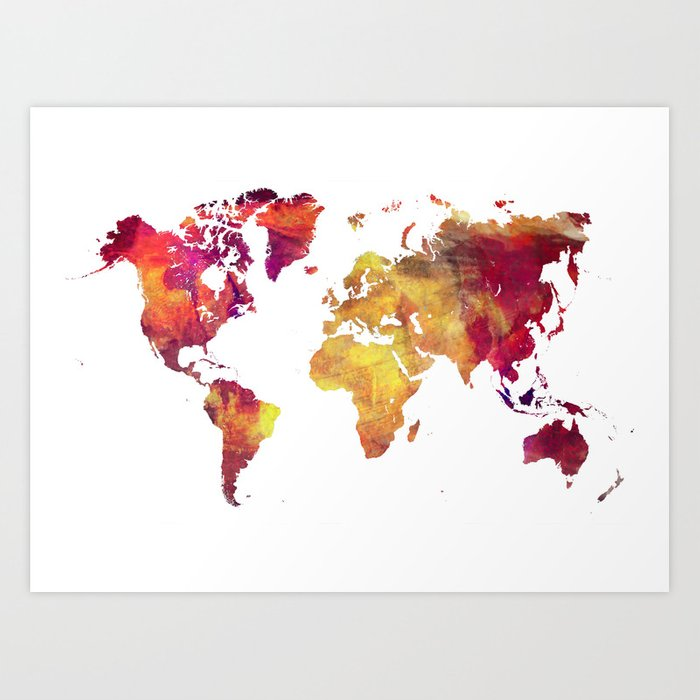 World Map after nuclear war Art Print