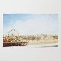 santa monica Area & Throw Rugs featuring Santa Monica Pier by MillennialBrake