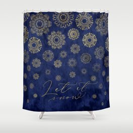 Let it snow, gold lace snowflakes in the night sky Shower Curtain