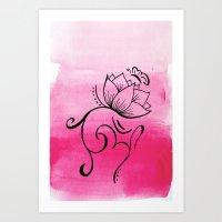Ohm. Lotus. Butterfly Art Print