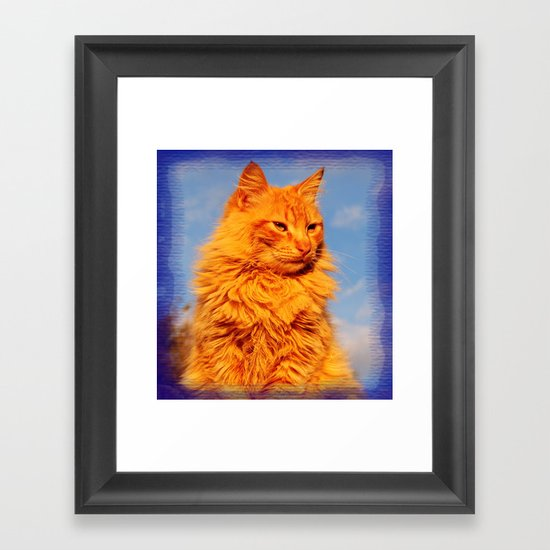 Red cat in the blue Framed Art Print