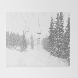 Empty Chairlift // Alone on the Mountain at Copper Whiteout Conditions Foggy Snowfall Throw Blanket