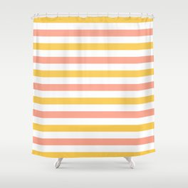 Yellow, coral and white horizontal stripes Shower Curtain