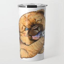 A little dog holding a camera Travel Mug