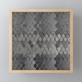 Mermaid Scales Silver Gray Glam #1 #shiny #decor #art #society6 Framed Mini Art Print