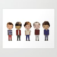 one direction Art Prints featuring One Direction by Paige Norman