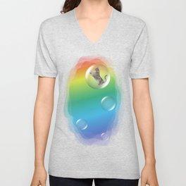 Bubble Cat Floating To The Rainbow Unisex V-Neck