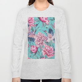Teal peonies and birds Long Sleeve T-shirt