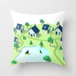 Isometric town illustration. Throw Pillow