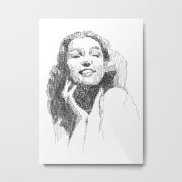 Rita Hayworth Portrait Metal Print