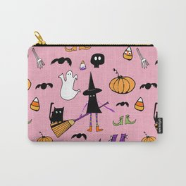 Cute #Halloween Witch and Friends Pink Carry-All Pouch