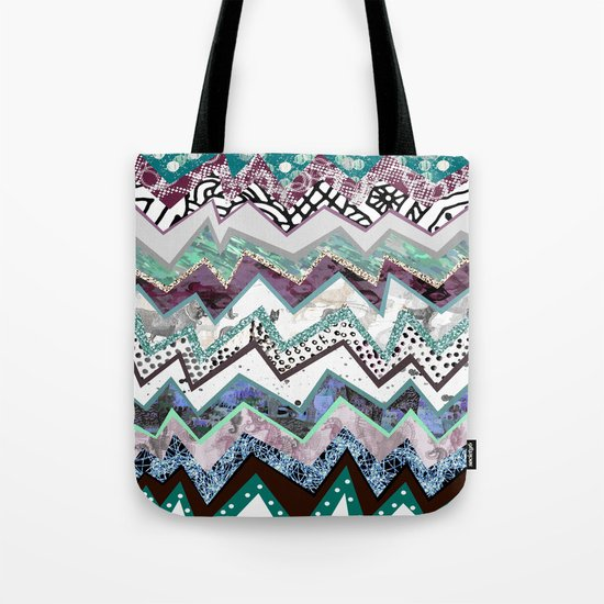 Winter Zigzags Abstract Tote Bag
