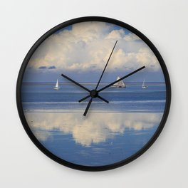 Sky And Sea With Sailboats In Holland Wall Clock