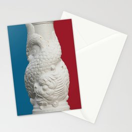 blue, red, white, koi fish, japan Stationery Cards
