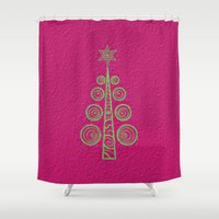 christmas tree Shower Curtains featuring Christmas Tree by Mr & Mrs Quirynen