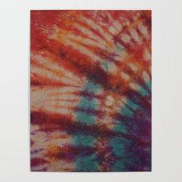 Tie Dye Orange Red Purple Turquoise Poster