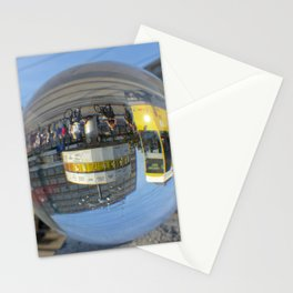 World Time Clock - seen through the crystal ball, Alex, Berlin / Glass Ball Photography Stationery Cards