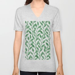 Ivy leaves botany cute watercolor pattern Unisex V-Neck