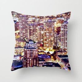 1553 Voyeuristic 1553 Vancouver Cityscape Downtown Yaletown British Columbia Canada Hot Summer Night Throw Pillow