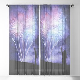 Blue and pink fireworks Sheer Curtain