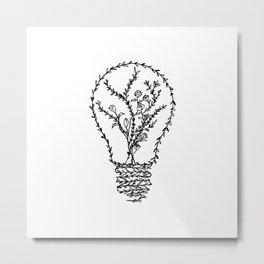 Floral Light Bulb Metal Print