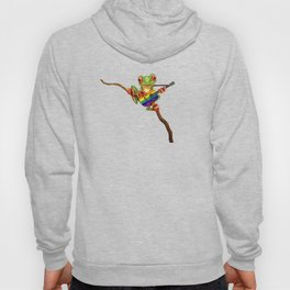 Tree Frog Playing Acoustic Guitar with Gay Pride Rainbow Flag Hoody