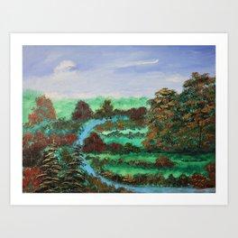 Through Autumn's River Art Print