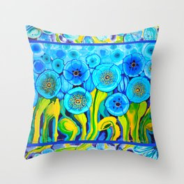Field of Blue Poppies with Top and Bottom Border Belize Throw Pillow