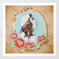pierce the veil Art Prints featuring *Remastered* Vocalist Series-Vic Fuentes of Pierce The Veil by Maura Creighton