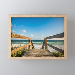Head to the Beach - Boardwalk Leads to Summer Fun in Florida Framed Mini Art Print